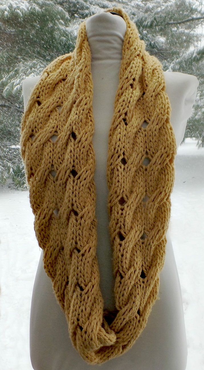 Free Knitting Pattern for Willow Infinity Scarf Cowl - Cable infinity scarf knit flat and seamed. Quick knit for super bulky yarn. Designed by Sierra Morningstar