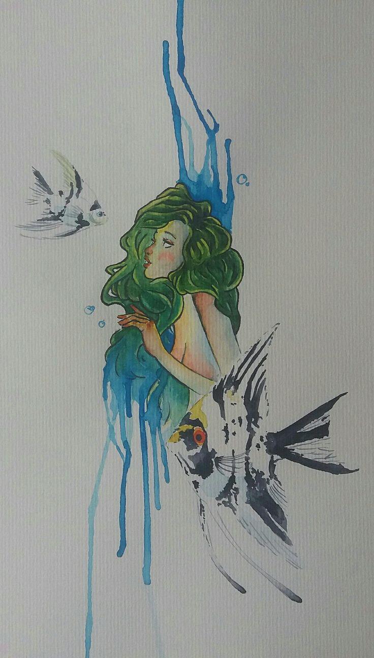 Acuarela. Sirena entre ángeles.