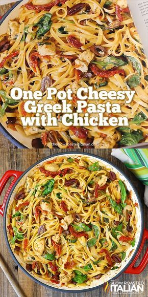 One-Pot Cheesy Greek Pasta with Chicken is a simple recipe featuring our favorit…