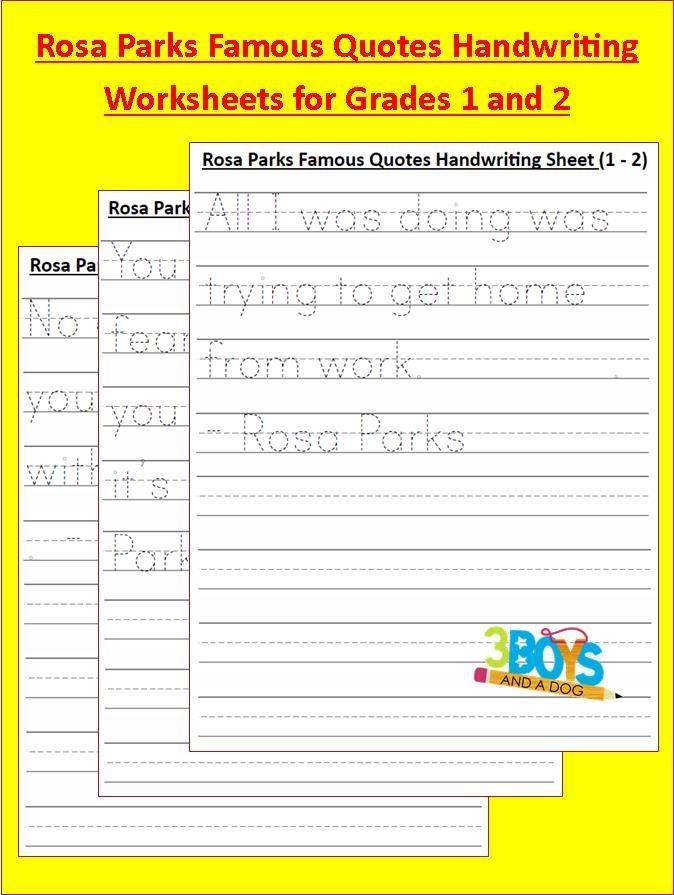 Rosa Park Famous Quotes Handwriting grades 1 2 Black History: Rosa Parks Handwriting Worksheets (grades 1 2)