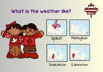 This notebook link goes nicely with the Grade 2 Social Studies and Science curriculum. You can look at each community's weather (Meteghan, Saskatoon, Iqaluit, and Edmonton (can change to your own community). You can also compare the weather of all 4 communities, which is nicely linked to Science - Hot and Cold Temperatures.By clicking on the map on the title page, you will be taken to each community's page.