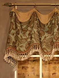 This is an attractive way to combine two fabrics and a tassel trim for a casual Valance Window Treatment.