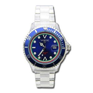 Product Description Case size: 40mm diameter Swiss made quartz battery movement Silver round dial with indices Silver & Blue plastic polycarbonate case Silver acrylic bracelet with locking clasp Fixed stainless steel bezel Date calendar function Mineral glass crystal Water resistant to 50atm Limited Edition