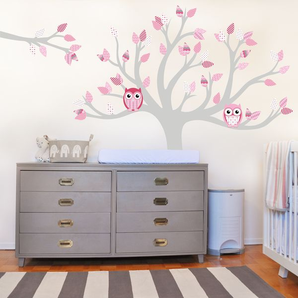 Tree wall decal with owls and pattern leaves. Removable wall sticker perfect for nurseries and girls bedrooms