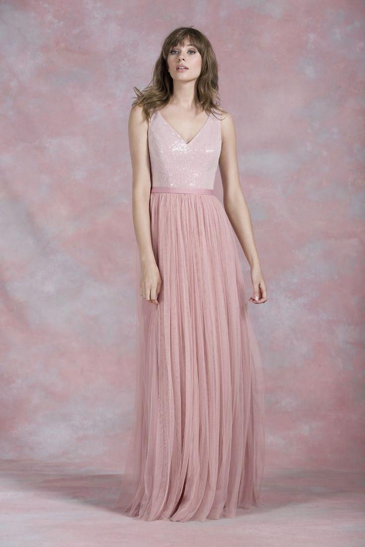 Ню розового кружева блестками линия тюль V назад на заказ 2016 молнию сзади длинные платья для подружек невесты на ну вечеринку