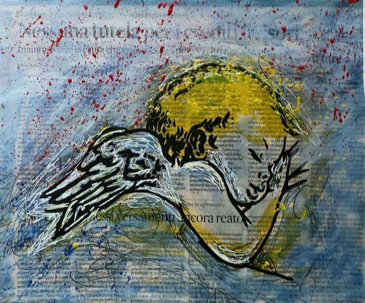 Il Riposo Dell'Angelo Acrilico su tela con Giornale 30cmx25cm 2015 byDaniele Fratini