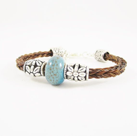 Auburn Horse Hair Bracelet with Blue Stone & Silver by RescueTails, $35.00