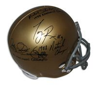 "Notre Dame Fighting Irish Replica Helmet Autographed and Inscribed by: Raghib ""Rocket"" Ismail ""1988 National Champs"", Tony Rice ""1988 National Champs"" & Michael Stonebreaker ""1988 National Champs"""