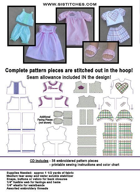 "Machine Embroidery CD's --the Pattern and Embellishments are ALL IN THE HOOP!  18"" Doll PJs"