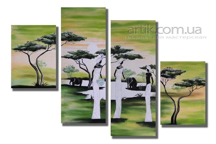 Модульная картина ручной работы, выполнена под заказ. Масло, холст. Modular handmade, made to order. Oil on canvas.