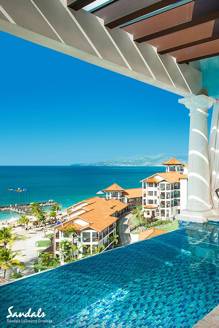 The Sky Pool Suites at Sandals LaSource Grenada offer stunning views over Pink Gin beach.