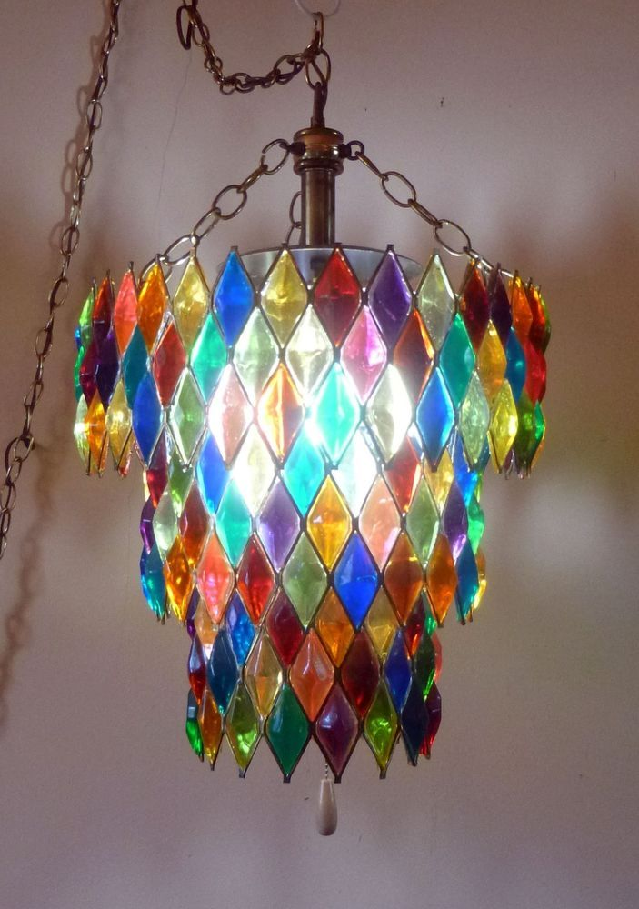 vntg MID CENTURY Hollywood Regency LUCITE jewel HARLEQUIN swag LAMP chandelier & Best 25+ Swag light ideas on Pinterest | Pendant light kits ... azcodes.com