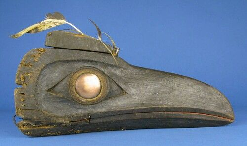 Haida articulated raven's mask with copper eye. Before 1883. Smithsonian collection.