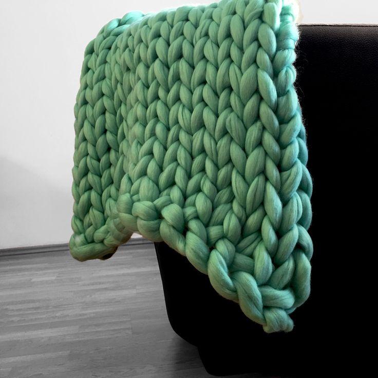 Paturica handmade lana Merino - Aqua Giant Knitting