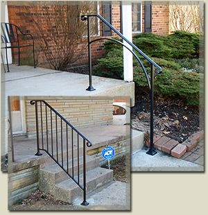 Iron handrails for outdoor steps the big back yard project pinterest iron handrails for Exterior wrought iron stair railing kits