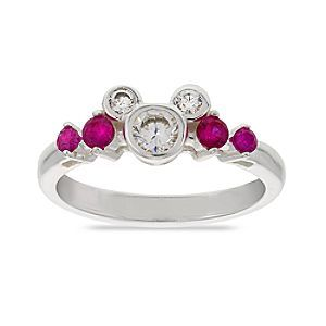 Mickey Mouse Pink Stone Ring | Disney Store Give your look some added sparkle with this dazzling Mickey Mouse ring. Clear cubic zirconias are mixed with pink stones to make this sterling silver stunner a have-to-have piece.
