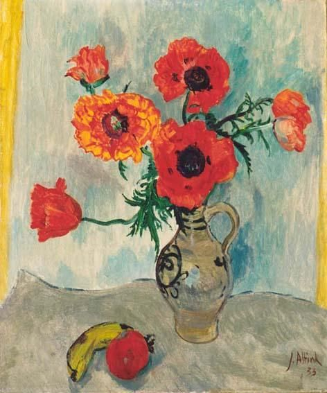 Jan Altink  Stilleven met bloemen in een vaas  Olie op doek 60 x 50 cm, gesigneerd rechtsonder en gedateerd '33 Gerelateerd