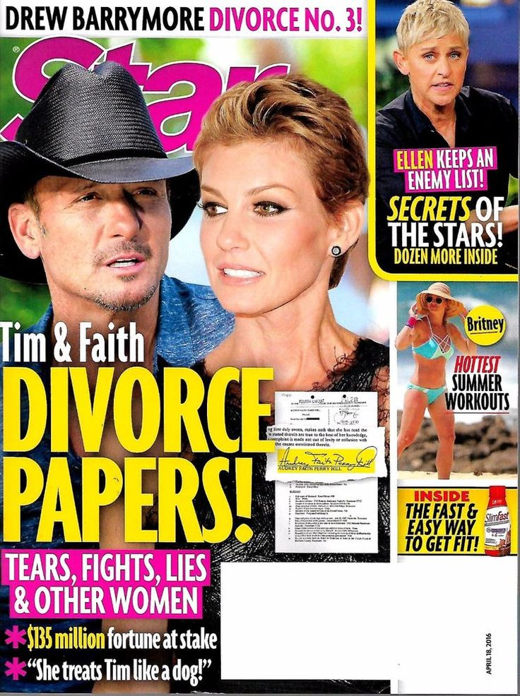 Star Magazine April 18, 2016 - Divorce Papers Tim McGraw Faith Hill Cover - NEW