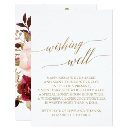 elegant gold calligraphy floral wishing well card gold calligraphy romantic weddings and bridal showers