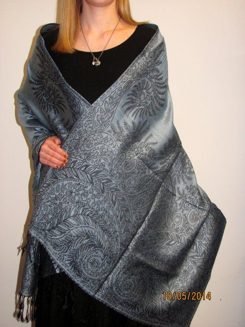 Blue Grey & Black Shawl Wrap Exquisite a fashion pashmina to cherish for women that love classy elegance. Just $36.00 for a limited time