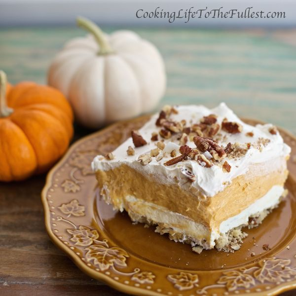 Layers and layers of awesomeness. It's that time of year, pumpkin recipes are in full force. Get out those boots and sweaters and let Autumn begin.