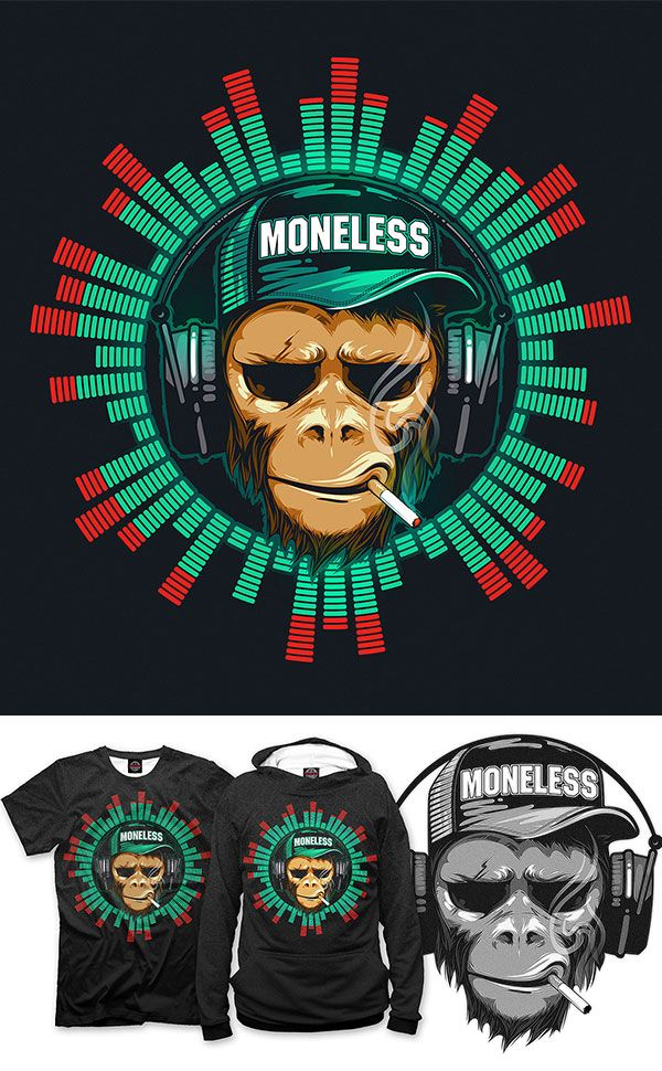 d86b0f7b6e917d Music fan hipster monkey. DJ chimpanzee T-shirt Design by Alexander Pavlov