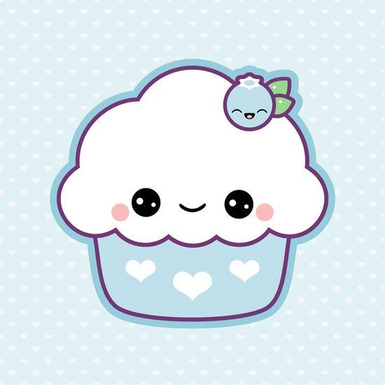 Cute Blueberry Cupcake Art Print by Sugarhai