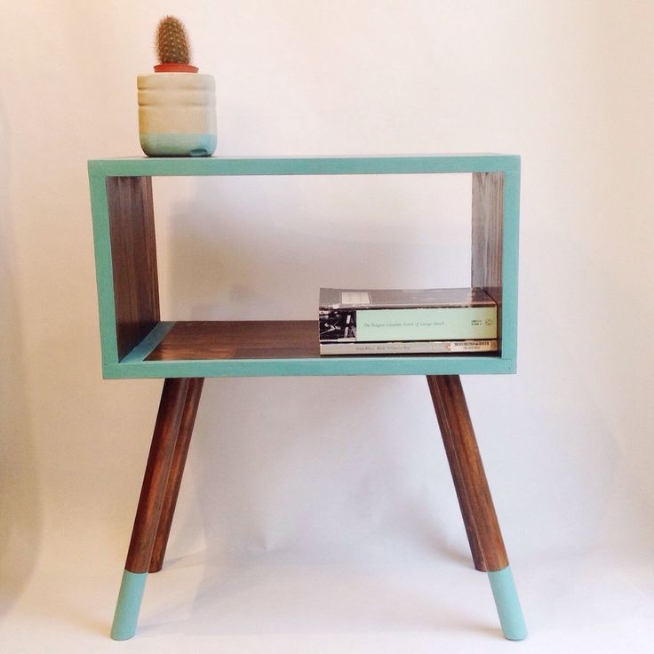 Mid Century Modern Tables, Midcentury Bedside Table, Scandinavian Table, Retro Nightstand, Wooden Table, Turquoise Table by VintageHouseCoruna on Etsy https://www.etsy.com/listing/230004088/mid-century-modern-tables-midcentury