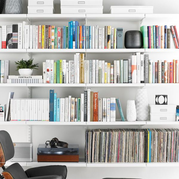 20 Home Office Bookshelves Designs Ideas: White Elfa Décor Bookshelf