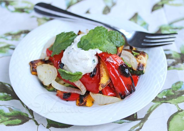 Grilled Red Peppers and other Summer Vegetables with Yogurt Sauce  - jeanetteshealthyliving.com