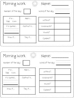 Today In First Grade: Morning Work Freebie