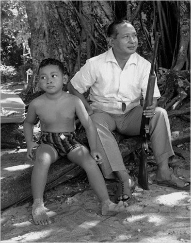 Shooting with his son