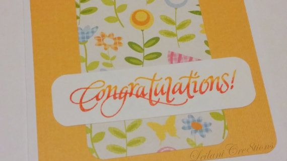 Congratulations Flower Card: Yellow Funky Flower Card, $1.50 on Etsy, click for products used or for more information, www.etsy.com/shop/LeilaniCre8tions