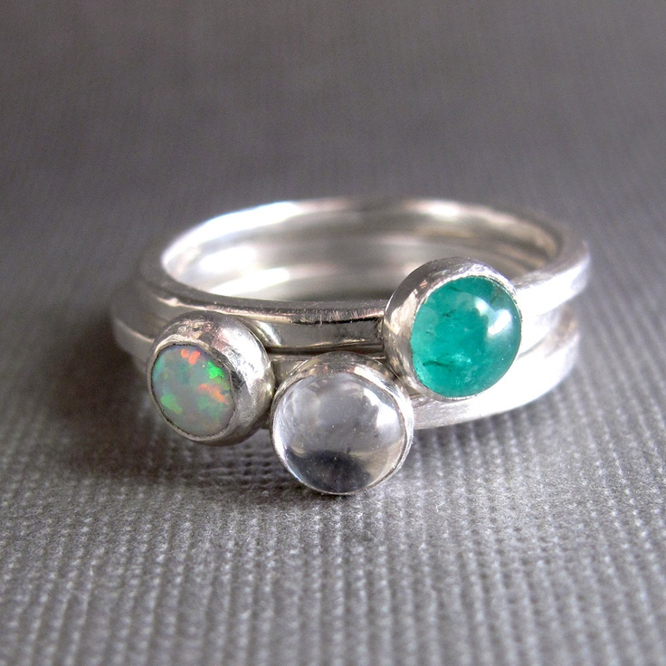 birthstone stacking rings sterling silver 5mm stones