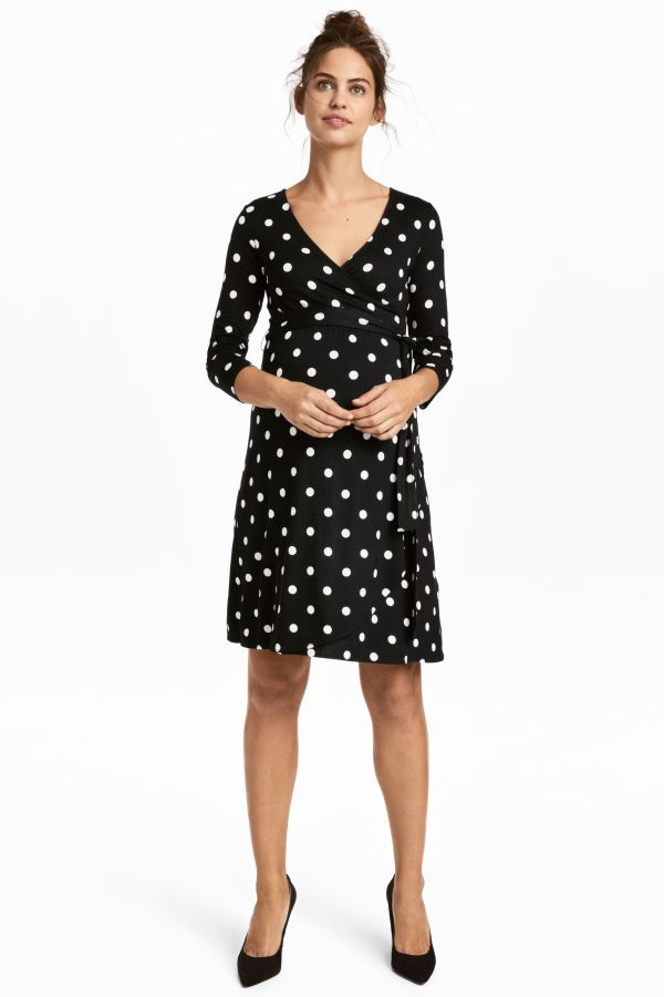 18b83471a2138 MAMA Jersey Dress | Black/white dotted | WOMEN | H&M US | FASHION ...