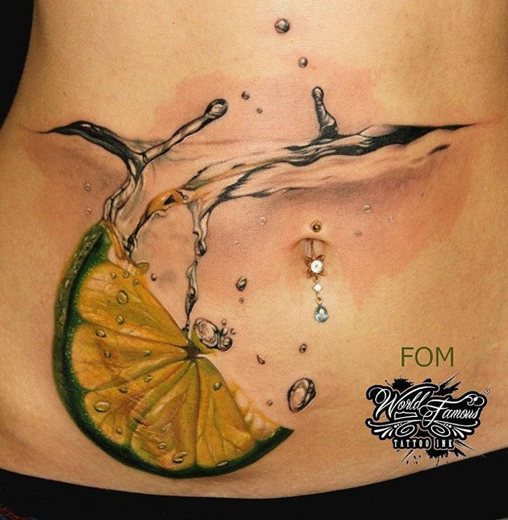 Cocktail With Lime Slice On Woman's Stomach | Best tattoo ideas & designs