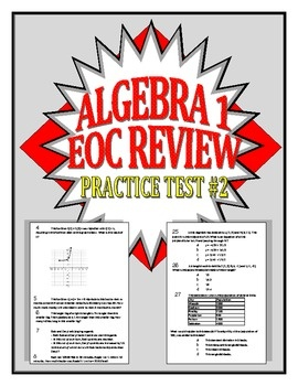 Common Core Algebra 1/Integrated 1 Practice Test #2 - Mitchell's Math Madhouse - TeachersPayTeachers.com
