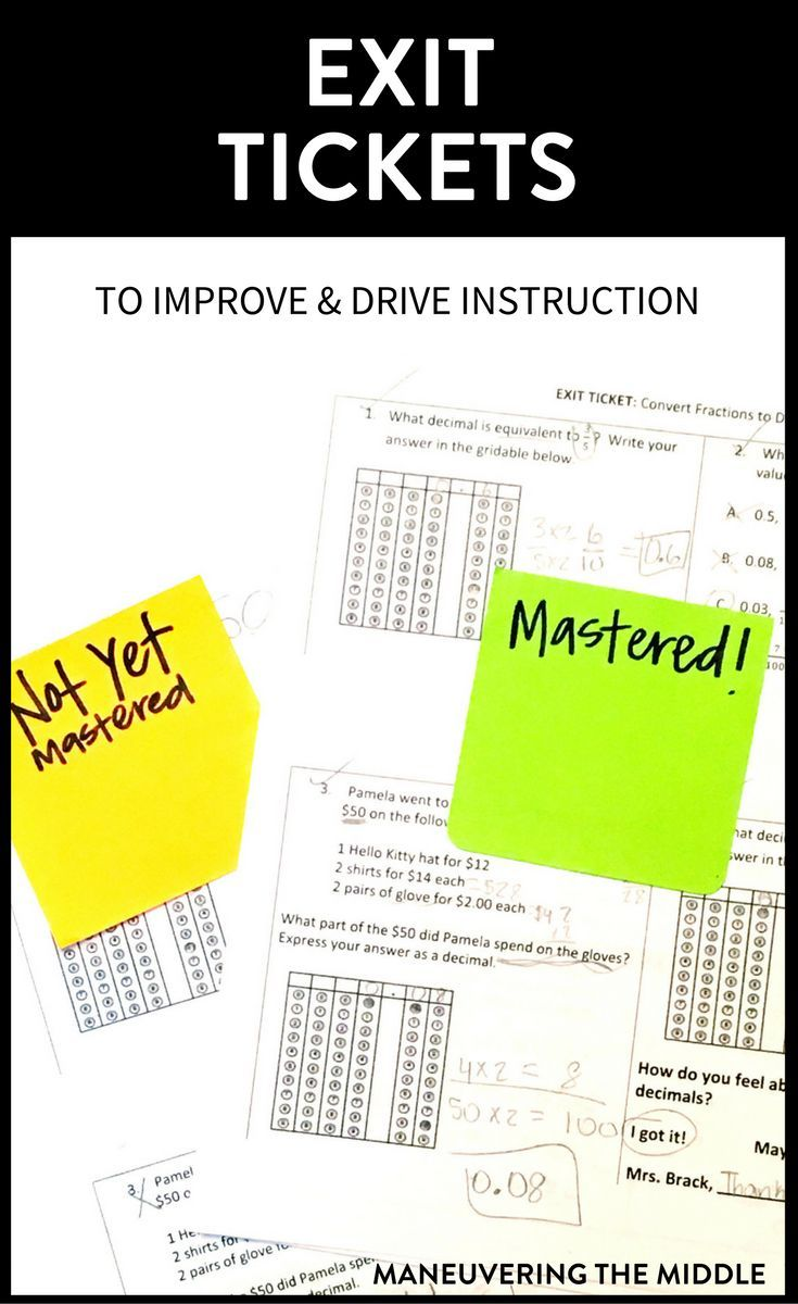 Exit tickets are a great way to gauge students' understanding, drive instruction, and invest students in mastering the content that same day.   maneuveringthemiddle.com via @maneveringthem