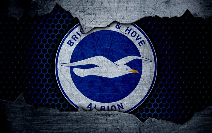Download wallpapers Brighton and Hove Albion FC, 4k, football, Premier League, emblem, logo, football club, Brighton and Hove, UK, metal texture, grunge