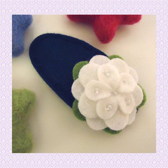 NO SLIP Wool felt hair clip Ecru petal flower navy by MayCrimson, $8.00