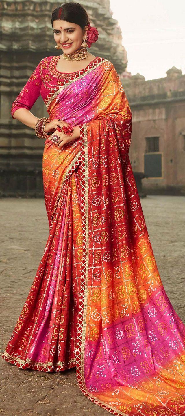 Women/'s Festive Diwali Special Print Silk Saree With Blouse Piece Orange Color