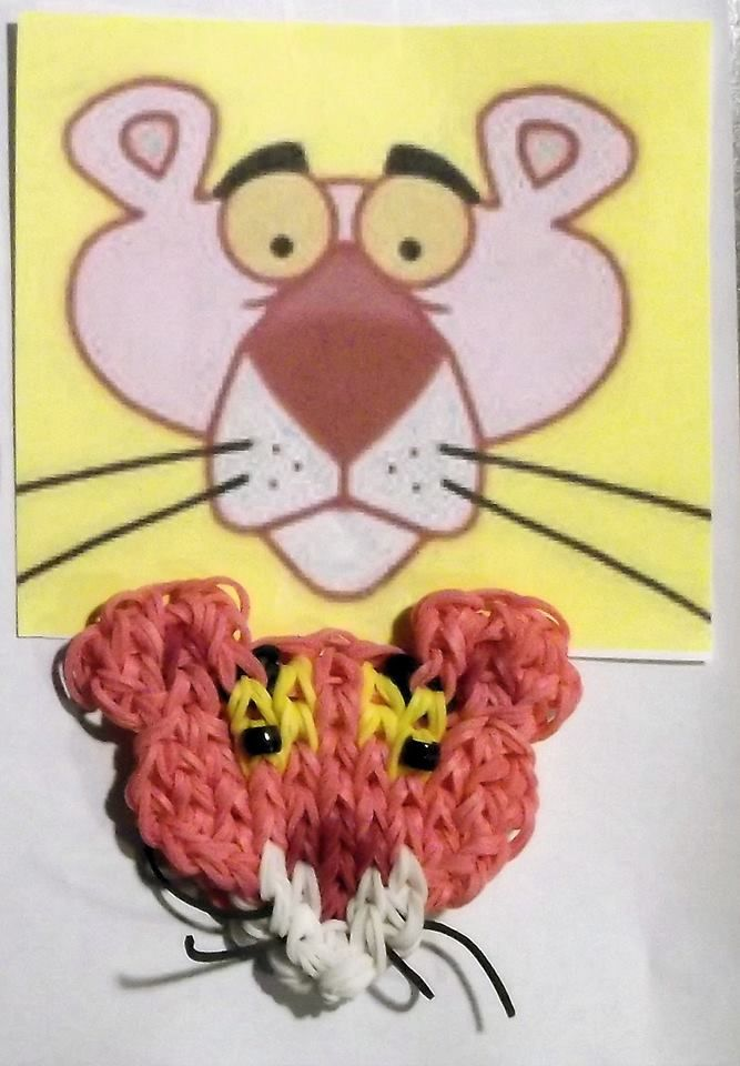 PINK PANTHER. Designed and loomed by Denise Christensen James on the Rainbow Loom. Template on her FB page  'Grans Obsession'. 02/26/14