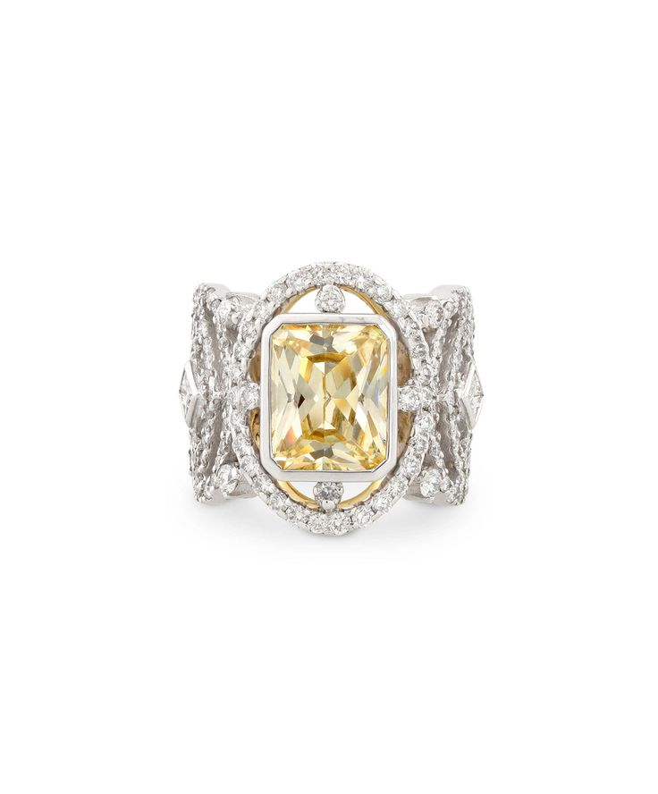 Shades of Autumn - An exquisite octagonal yellow sapphire set in 18ct white gold and diamonds - Marina Dress Ring – Jenna Clifford