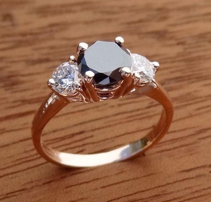 Very Petite 3 Stone Black & White Diamond Engagement  Ring 14K Rose Gold by DeAguiarDesigns on Etsy https://www.etsy.com/au/listing/227107505/very-petite-3-stone-black-white-diamond