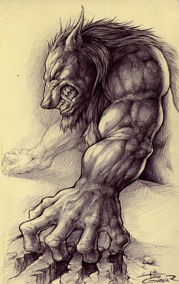 I made this sketch with a black ink pen trying to find a more contrasted drawing, in this work I'm trying to represent a werewolve under presion in a judgement ... or something like that.
