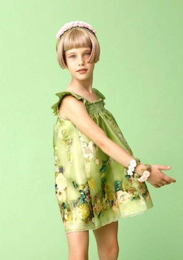 Mi Mi Sol Spring Summer 2014, green cotton popeline dress. #flowers #mimisol #springsummer2014 #SS14 #children #kids #childrenwear #kidswear #girls