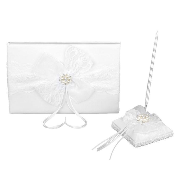 Matrimonio Guestbook Pizzo Fiocco Bianco Libro Ospiti Penna Stand Bomboniera: Amazon.it: Salute e cura della persona