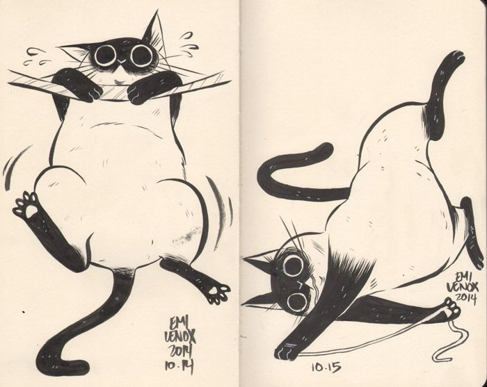 Hilariously Adorable Cat Drawings by Emi Lenox