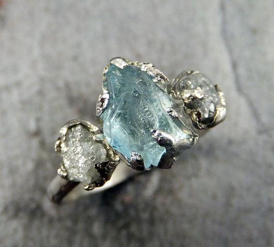 Raw Uncut Aquamarine Diamond White Gold Engagement Ring Wedding Ring Custom One Of a Kind Gemstone Ring Bespoke Three stone Ring byAngeline