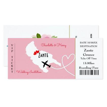Ticket Boarding Pass Floral Wedding Abroad Zante Invitation | Zazzle.com
